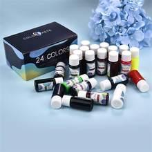 24色/セットuvエポキシ拡散樹脂顔料アルコールインク液着色剤染料インク拡散樹脂ジュエリーメイキング