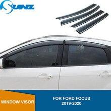 รถDeflectorหน้าต่างVisorสำหรับFord Focus 2019 2020 Hatchback/ซีดานVisor Vent Shades Sun Rain Deflector Guard SUNZ