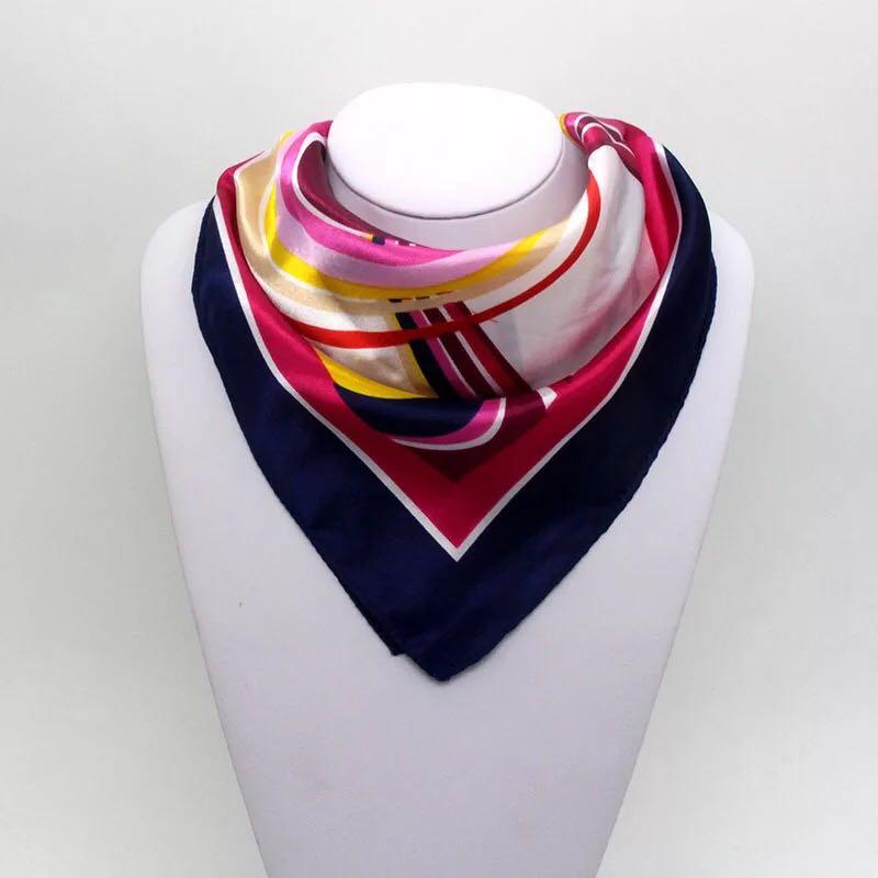Fashion Etiquette 50*50cm High Quality Scarf Women Small Soft Squares Decorative Head Scarf Stripe Print Kerchief Neck Wrap