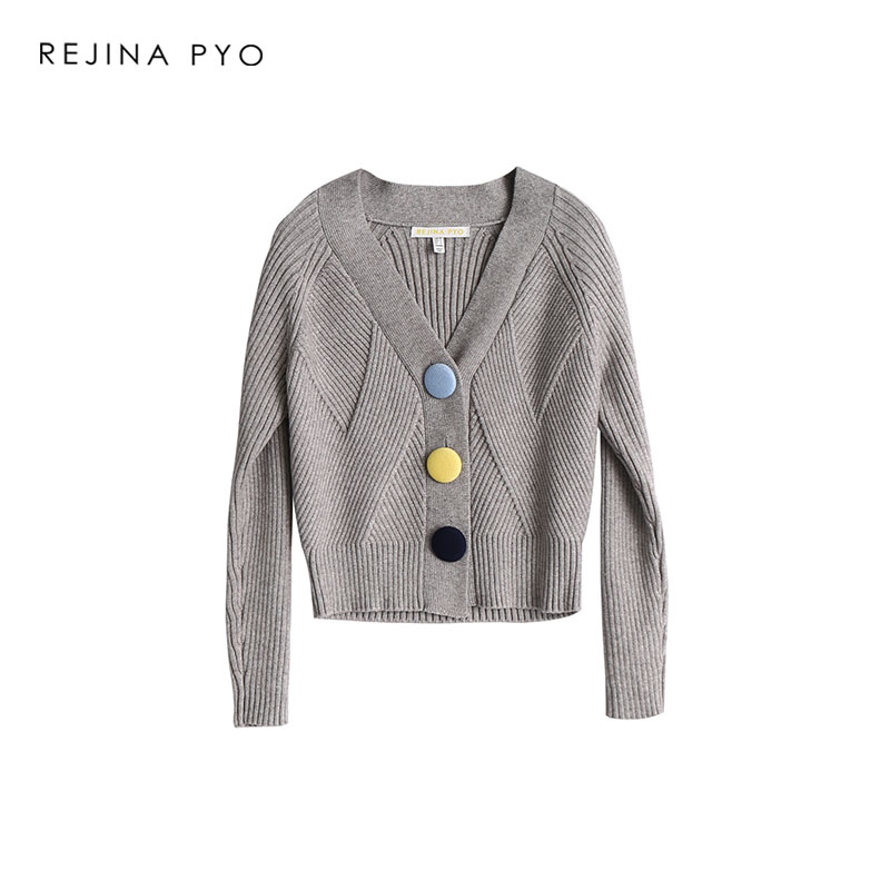 REJINAPYO Women Solid Loose Grey Knitted Cardigans Single Breasted Female V-Neck Casual Short Stretching Sweater New Arrival