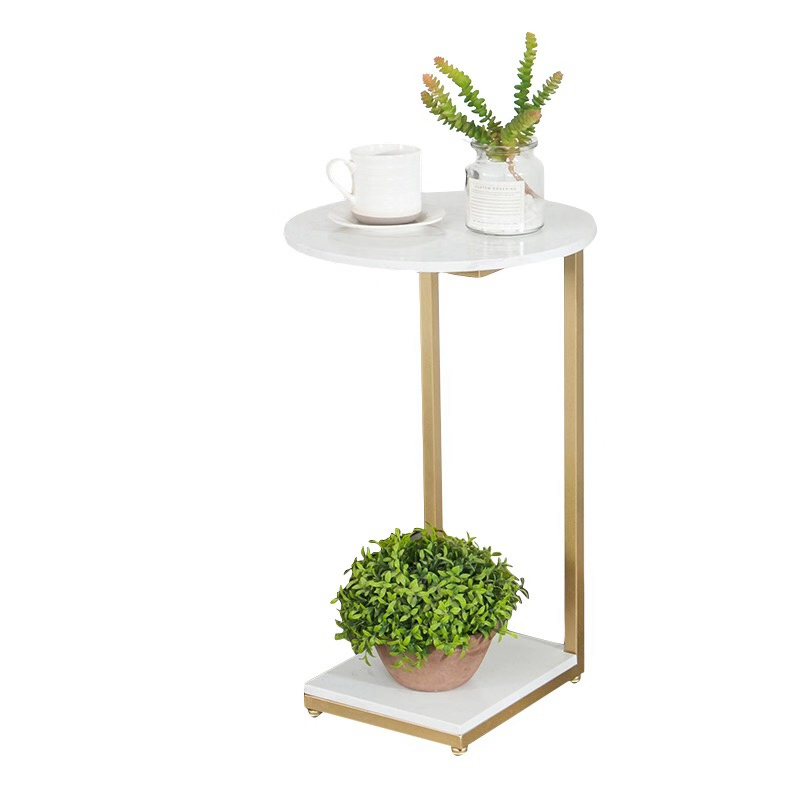 Italian Light Luxury Side Table Sofa Marble Simple Iron Corner Table Living Room Nordic Small Coffee Table Side Table Removable