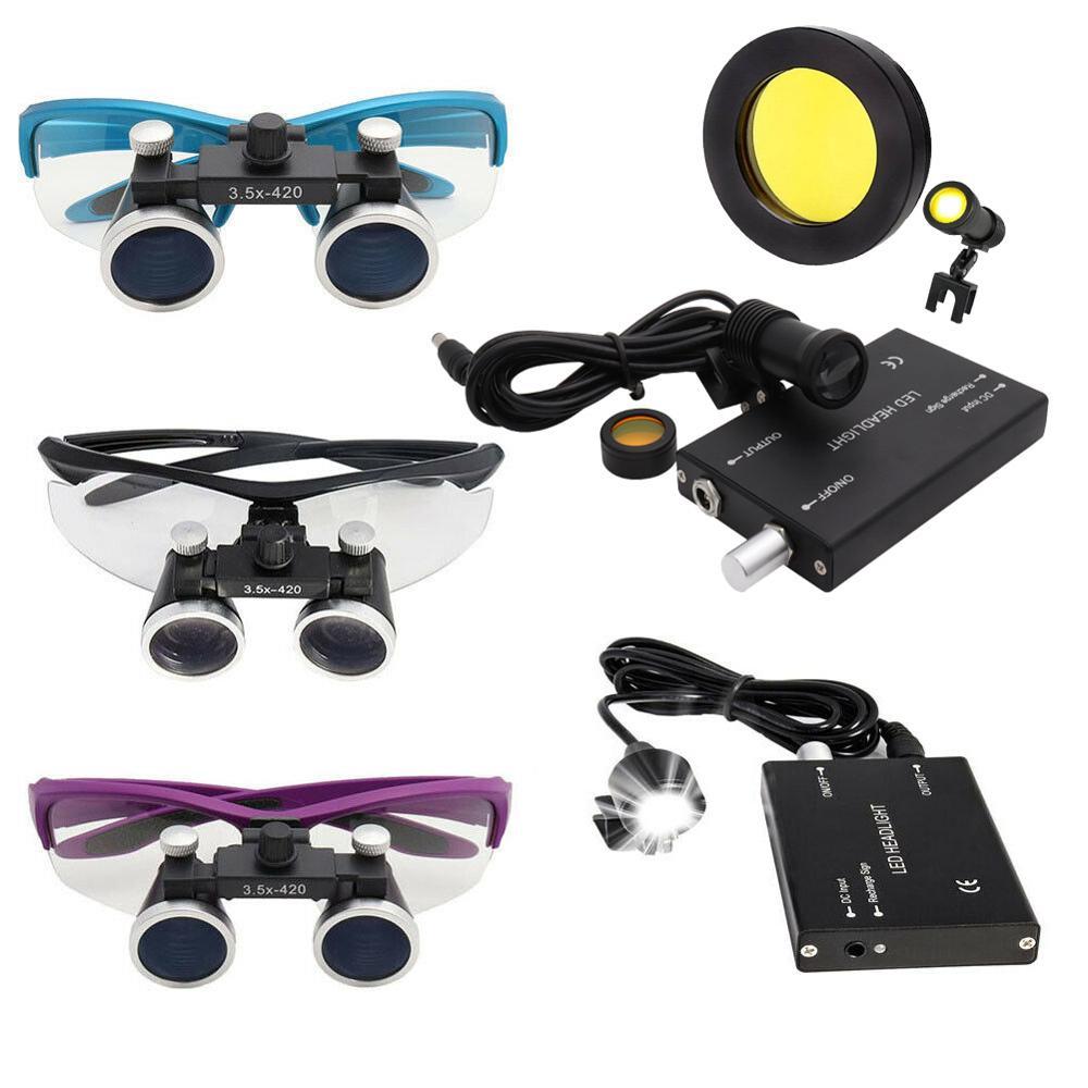 2.5/3.5X Dental Surgical Binocular Loupe Dental Magnifier 3W/5W Headlight Head Lamp 4 Colors