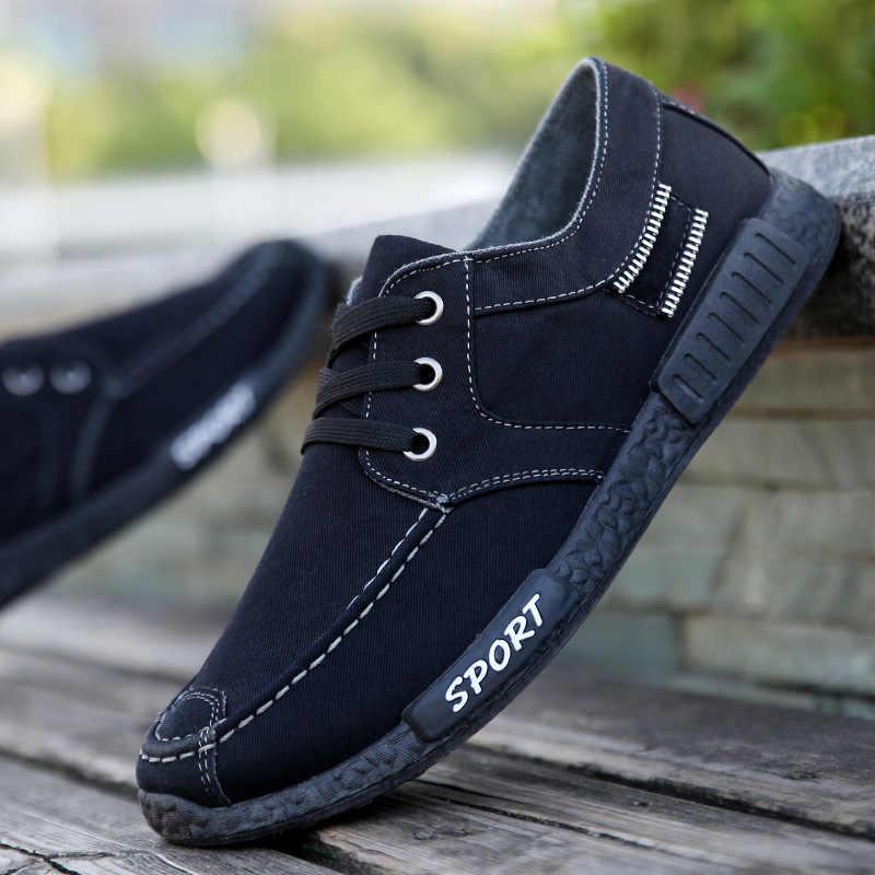 Leinwand Männer Schuhe Grau/blau/schwarz Mann Casual Schuhe Lace-up Turnschuhe Männlichen Neue Ankunft 2020