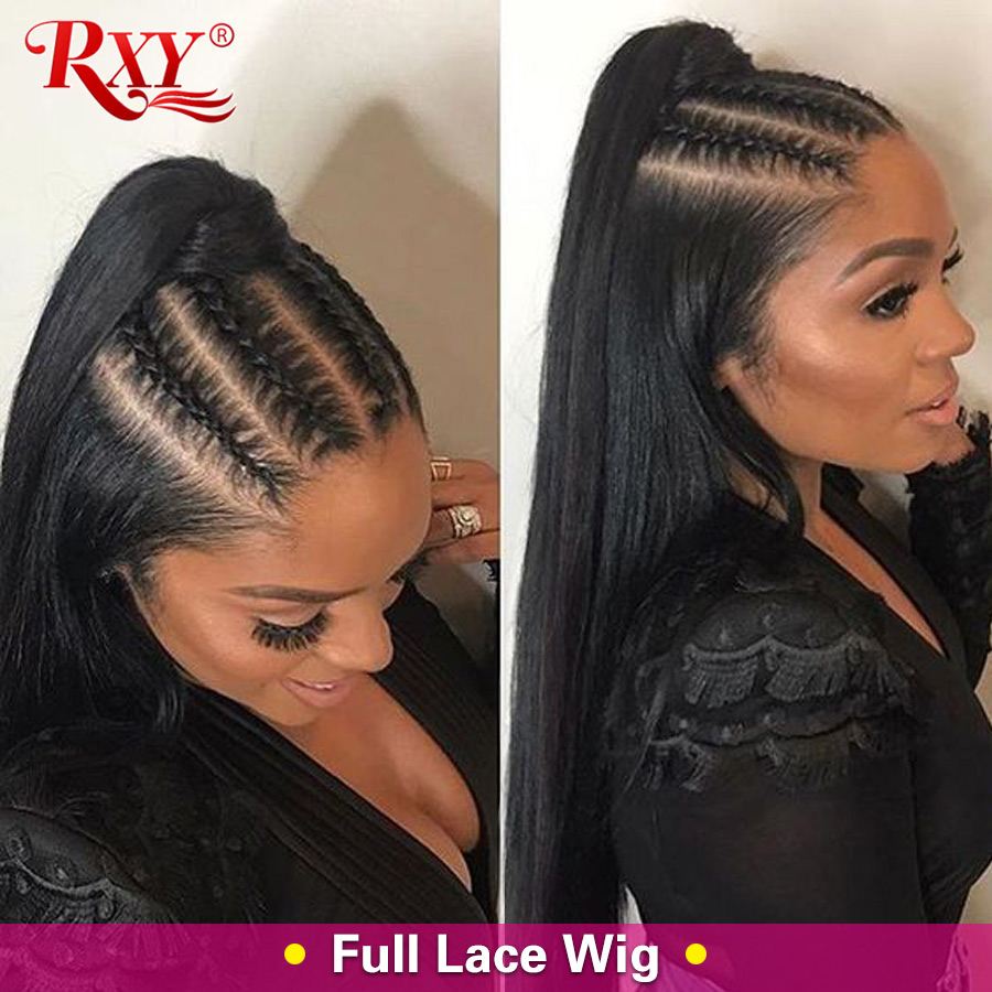 Full Lace Wig RXY Pre Plucked Full Lace Human Hair Wigs For Women Peruvian Straight Lace Wig Remy Human Hair Wigs With Baby Hair
