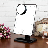 20 LED Lights Makeup Mirror Cosmetic Vanity Desk Stand Make Up Adjustable Mirrors Rotatable with a 10X Magnifying Sucker Mirror