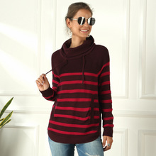 Brand Turtleneck Sweater Women Winter Striped Turtleneck Ladies Sweater Casual Street Clothing Womens Turtleneck Sweaters
