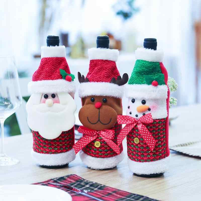 Kerst Non-woven Wijnfles Cover Keuken Tafel Thuis Diner Party Decor