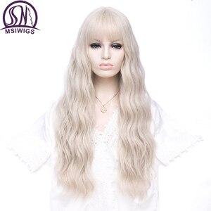 MSIWIGS синтетический парик для женщин, длинные волнистые светлые волосы с челкой, серый розовый парик для косплея, термостойкий парик для дево...
