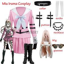 Kostium Miu Iruma Cosplay peruki Danganronpa V3: zabijanie harmonii kobiety mundurek marynarski Halloween karnawał jednolite zestawy darmowe akcesoria