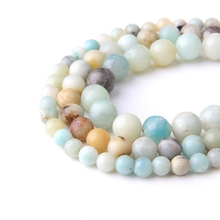 Natural Amazonite Beads Natural Stone Loose Beads For Jewelry Making DIY Women Bracelet Necklace Accessories new boho natural amazonite stones beads chain skeleton horn statement necklace for women jewelry factory wholesale