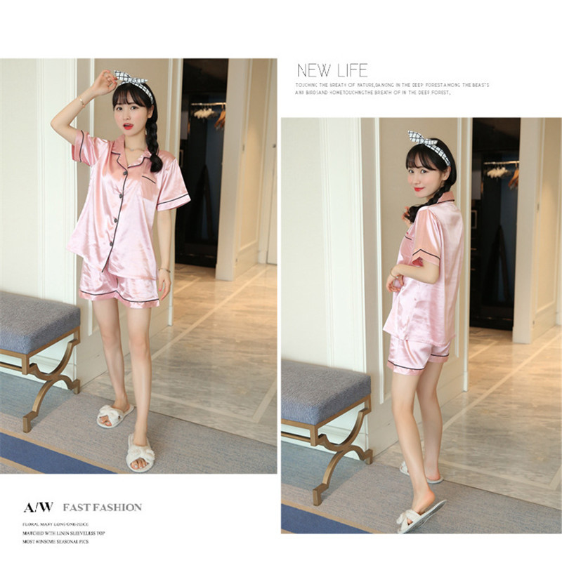 H2e8b6520fd85411e928b45cb3c9698f10 - JULY'S SONG New Spring Summer Women Faux Silk Pajamas Set Simple Pure Color Leisure Nightwear Short Sleeves Sleepwear