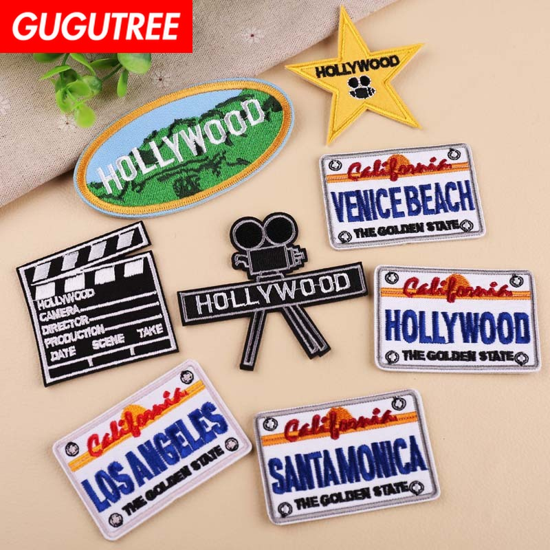 GUGUTREE embroidery hollywood star patches movie scenery letter badges applique patch,YX-295