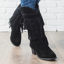 2019 New Bohemian Boho Heel Boot Ethnic Women Tassel Fringe Faux Suede Leather Ankle Boots Woman Girl Flat Shoes Booties(China)