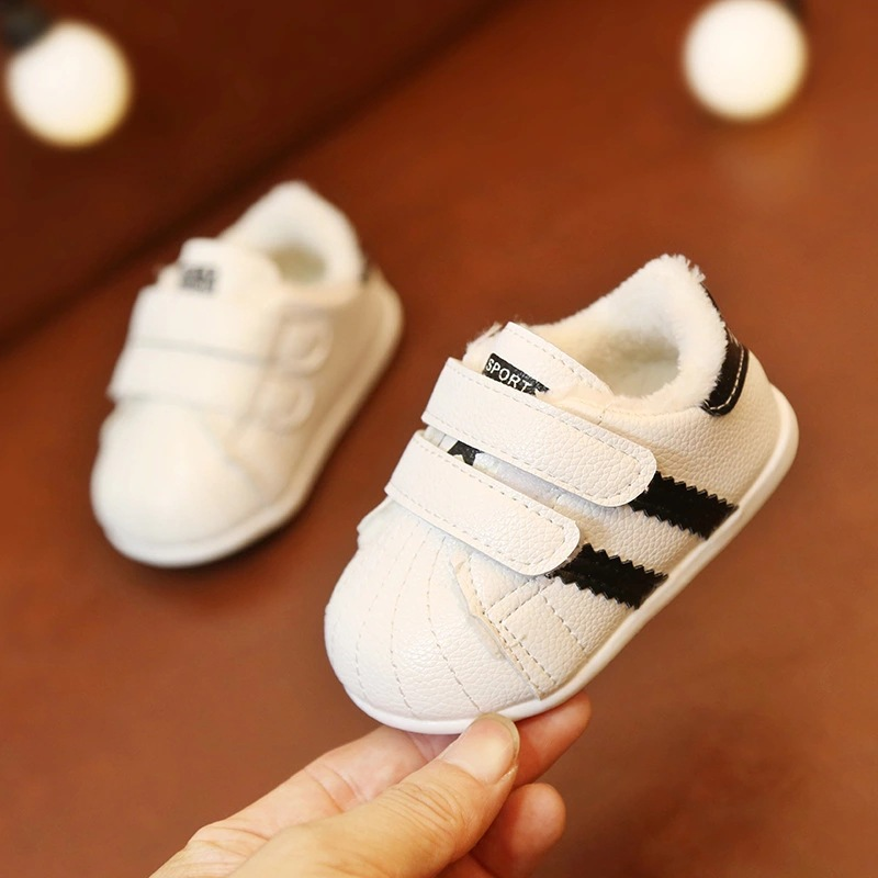 Winter Skid Resistance PU Net Infant Toddler Stripe Little White Shoes Baby Girl Boy Sneakers Casual First Walkers SportsTennis