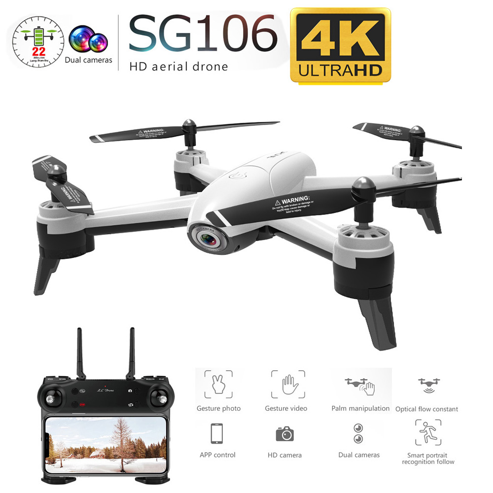 Sd106 WiFi FPV RC Drone 4K cámara de flujo óptico 1080P Cámara dual de HD de vídeo aéreo RC Quadcopter aviones Quadrocopter juguetes chico