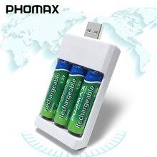 PHOMAX شاحن بطارية aa ، aaa ، 1.2 فولت ، محمول ، قابل لإعادة الشحن ، 3 قطعة ، Ni MH / Ni Cd ، USB مدمج ، 3 فتحات