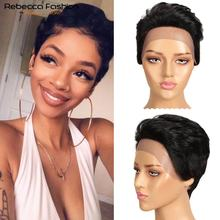 Wigs Hair-Wig Lace-Frontal Human-Hair Rebecca Straight for Black Women Peruvian Short
