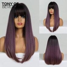 Długie proste czarne do fioletowego włosy typu Ombre z Bangs żaroodporne peruki syntetyczne dla czarnej kobiety Cosplay naturalne włosy peruki