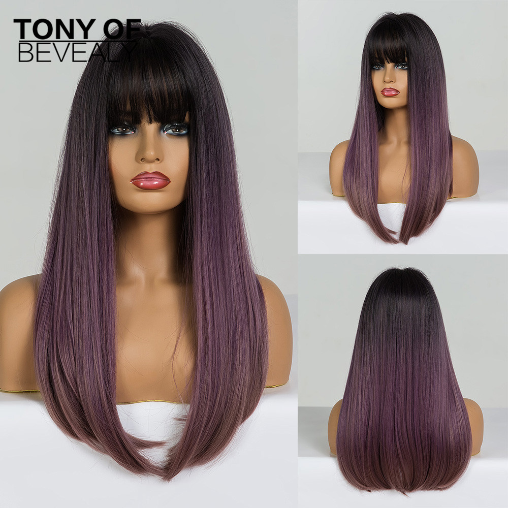 Long Straight Black To Purple Ombre Hair With Bangs Heat Resistant