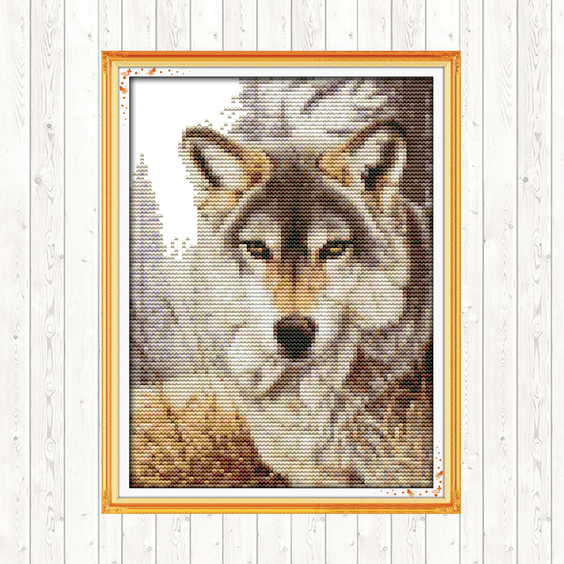 Joy Sunday Chinese Cross Stitch Wolf Pattern 14CT 11CT Printed Canvas For Embroidery Kit DMC DIY Counted Cross Stitch Needlework