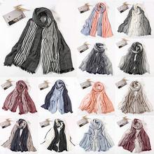 2020 nowe japońskie Style zimowy szalik Unisex tkane pomarszczone męskie szaliki Vintage Stripe szaliki bawełniana pościel długie szale szal