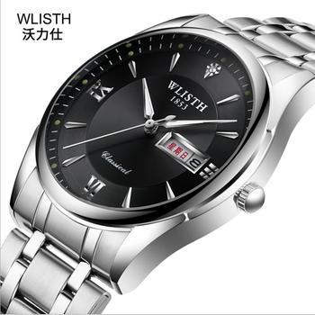 Men's stainless steel business quartz watch waterproof luminous function Business Watch stainless steel rhinestone business quartz watch