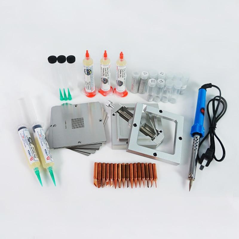 1Set 90*90mm BGA Reballing Stencils Solder Paste Tin Balls Station Steel Mesh BGA Reball Kit for SMT Rework Repair