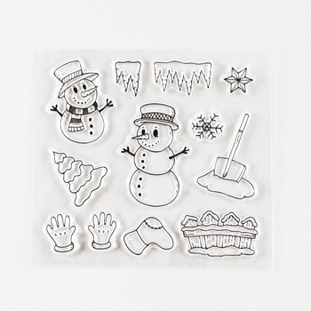 Sellos de Navidad transparentes muñeco de nieve que se aferra sellos para álbum de recortes