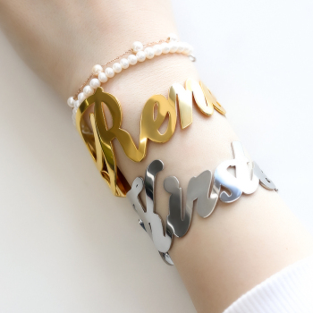 Custom Name Cuff Bracelets For Women Girls Stainless Steel bijoux femme Gold Silver Personalized Bracelet Bangles Boho Jewelry enfashion personalized custom engrave name bracelet stainless steel flat bar cuff bracelet gold color charm bracelets for women