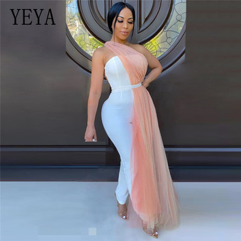 YEYA Women Sexy Off Shoulder Open Back Jumpsuit Mesh Hollow Out Club Party Skinny White Bodysuit Streetwear Summer Overalls white open back hollow design halter sleeveless sexy jumpsuit