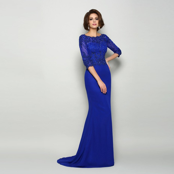 On Sale Blue Elegant Lace Applique Top Mother of the Bride Dresses Jewel Neck Three Quarter Sleeve Beads Wedding Party Gowns lace applique lantern sleeve cold shoulder top