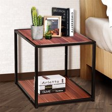 "20"" Metal Square Side Table Coffee Stand Bottom with 2-Tier Shelf Durable and Sturdy Iron Material Bedside Table HW55399(China)"
