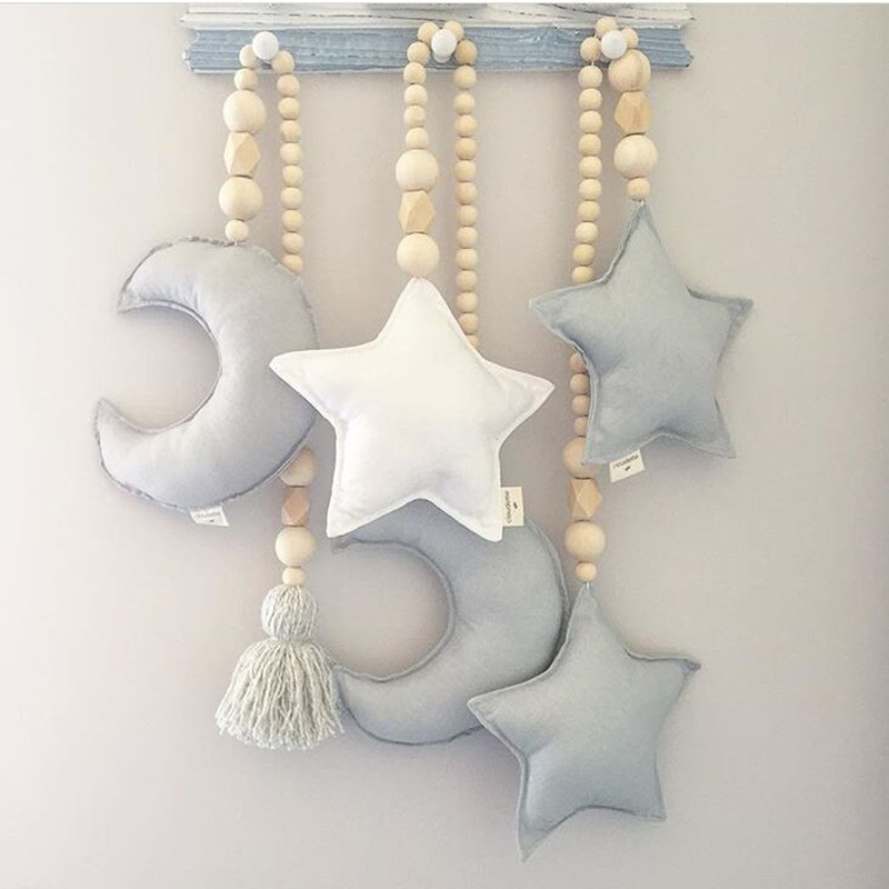 Wooden Bead And Moon Star Nursery Canopy Tent Decorations Star Mobile Baby Nursery Design Baby Crib Decoration Photo Prop
