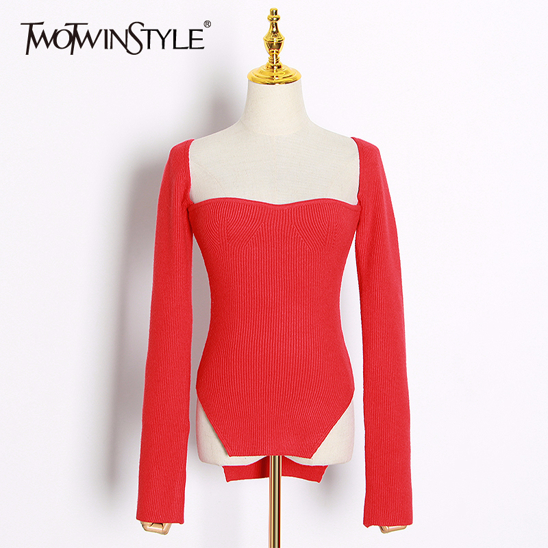 TWOTWINSTYLE Asymmetrical Sweater Knitted Tops Female Square Collar Long Sleeve Sexy Sweaters Women Fashion New 2020 Clothing