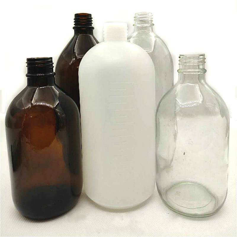 Bouteille de réactif pour distributeur bouteille en verre brun 500 mL bouteille de solvant Transparent 1000 mL adapté pour distributeur de bouteille