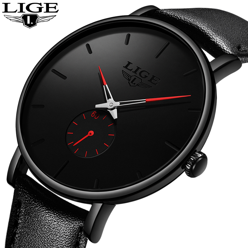 2019 Fashion Silple Thin Watch For Mens Watches Top Brand Luxury Male Casual Leather Waterproof Quartz Clock Relogio Masculino-in Quartz Watches from Watches