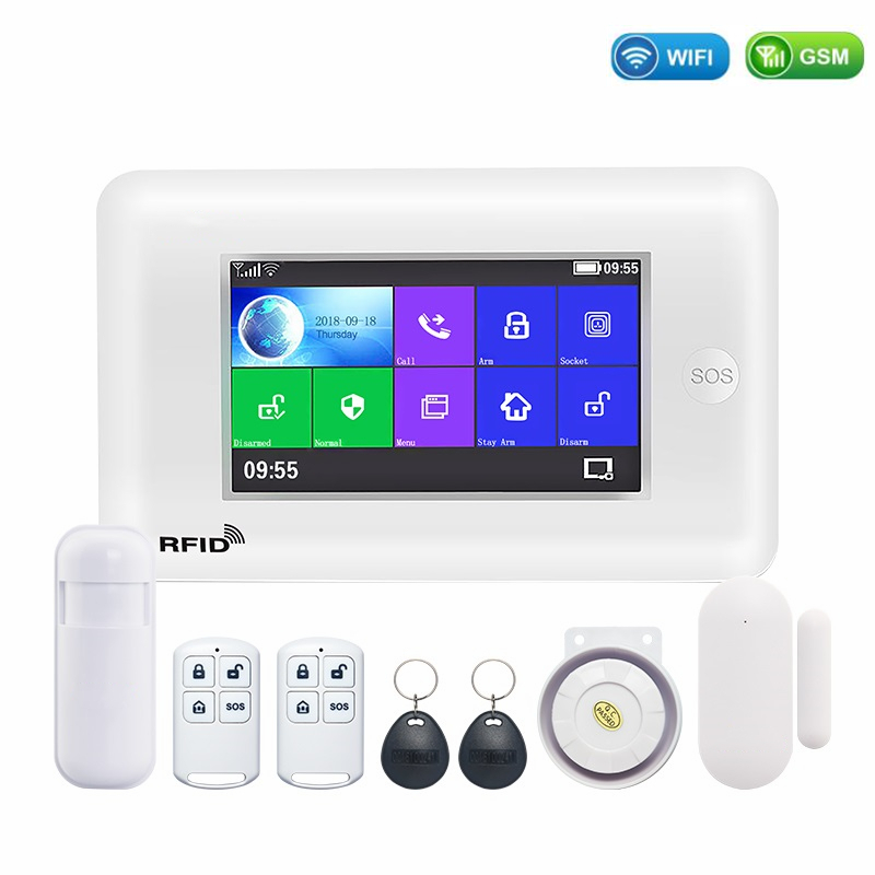 3G WiFi GPRS Wireless Home Security Alarm System with Touch Screen SOS RFID APP Control Fire Smoke Detect Intruder Burglar Alarm