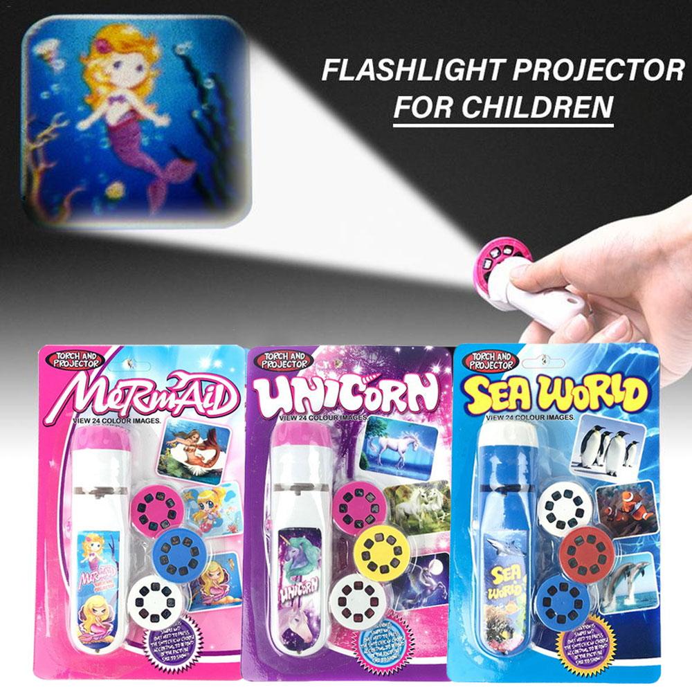 3 Patterns Children Projector LED Torch Flashlight Kids Educational Toys Light