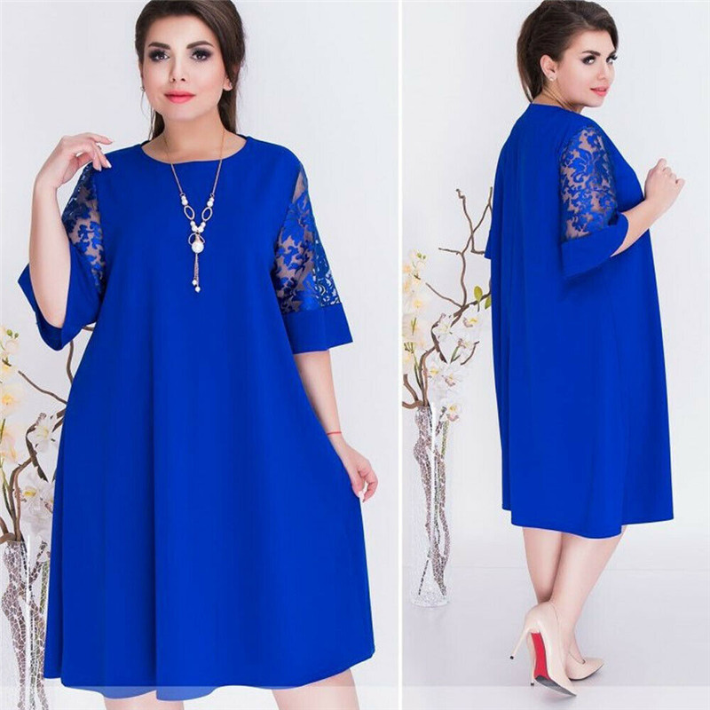 Hot Fashion Women Sexy Crew Neck Lace Short Sleeve Summer Dress Ladies Loose Casual Dresses Female Solid Color Dresses Plus Size