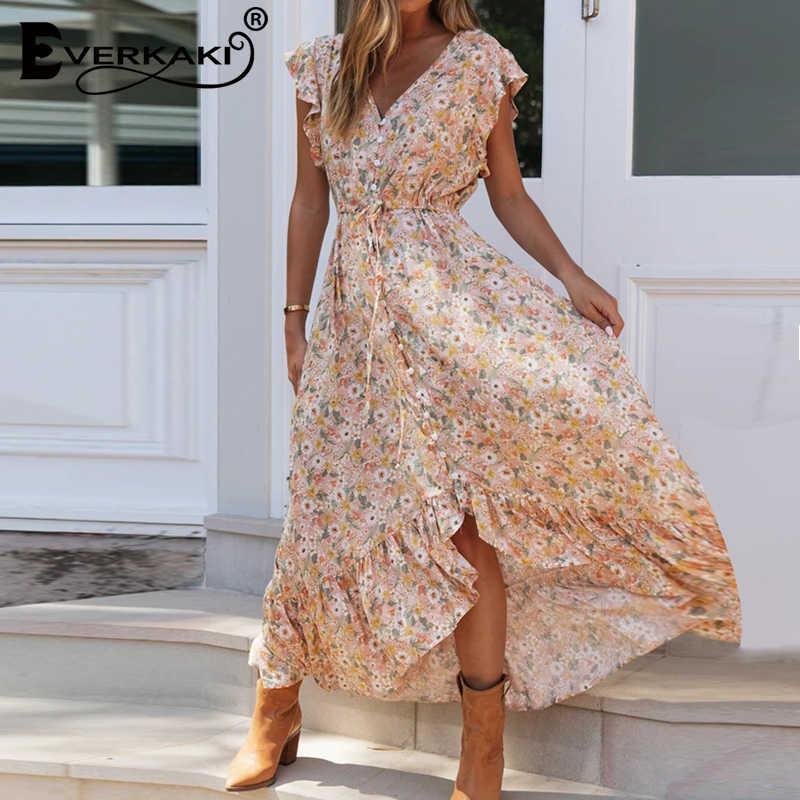 Everkaki çiçek baskılı uzun elbise düzensiz Hem Boho yaz Vestidos Sashes bayanlar çingene Maxi elbiseler Casual kadın 2020 yeni