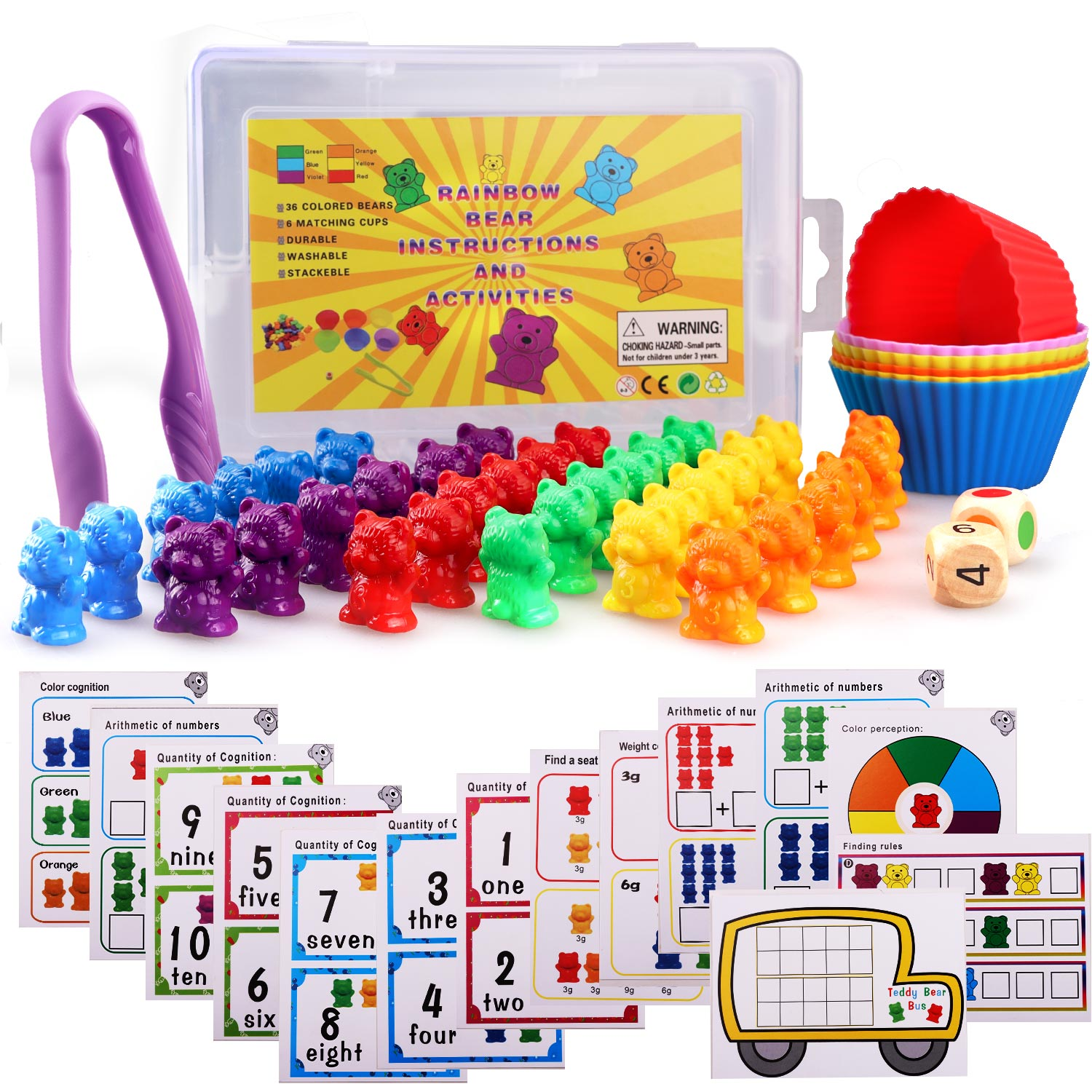 62pcs Counting Bears Matching Color Sorting Kit Learning Math Educational Toys for Toddlers Kids Homeschool Preschool Supplies