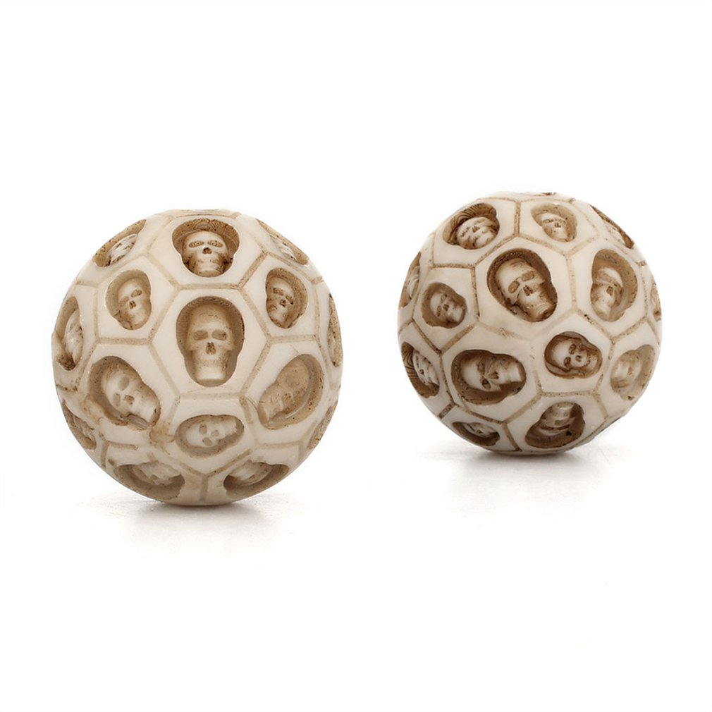 1pc Skull Fitness Ball Resin Hand Turn Health Ball Rolling Decompression Massage Ball Exercise Toy Anti Stress Relief For Adults