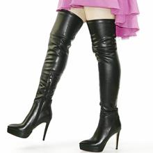 NAYIDUYUN  New Fashion Thigh High Boots Women Faux Suede Point Toe Over Knee Stretchy Slim Leg Heels Pumps Plus Size
