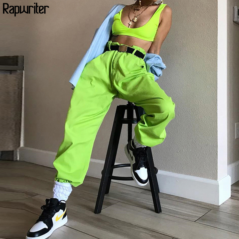Rapwriter Fashion Fluorescent Dreen Drawstring Sweatpants Women 2020 Spring High Waist Loose Streetwear Jogger Pants Bottom Hot