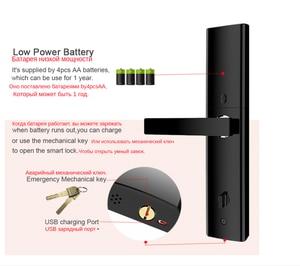 Image 4 - Tuya WIFI חכם דלת lcok Cerradura inteligente, מגע מסך מקלדת סיסמא, טביעות אצבע עם Fechadura דיגיטלי מנעול דלת