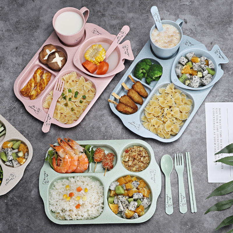 6pcs/sets Baby Dish Bowl Tableware Set Natural Bamboo Fiber Bowl With Cup Spoon Plate Fork Feeding Dishes For Kids Utensils