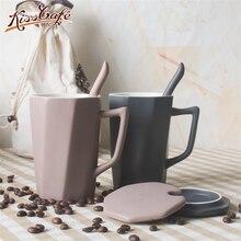 Simplicity Ceramic Coffee Tea Cup Heat-Resistant Matte Milk Mug 400ml With Lid Handle Spoon Office Couple Gift