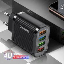 Carregadores do telefone móvel 4 usb carregador de carga rápida 3.0 4.0 para samsung carregamento rápido para iphone huawei adaptador de carregador de viagem de parede
