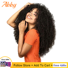 цена на Mongolian Kinky Curly Lace Front Human Hair Wigs 180% Density Full Hair Curly Lace Frontal Abby Hair Wigs For Women PrePlucked