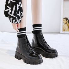 LMCAVASUN Casual Shiny Patent Leather Platform Boots for Girls Trendy Winter Shoes Non-slip Thick Soled Ankle Boots for Women(China)